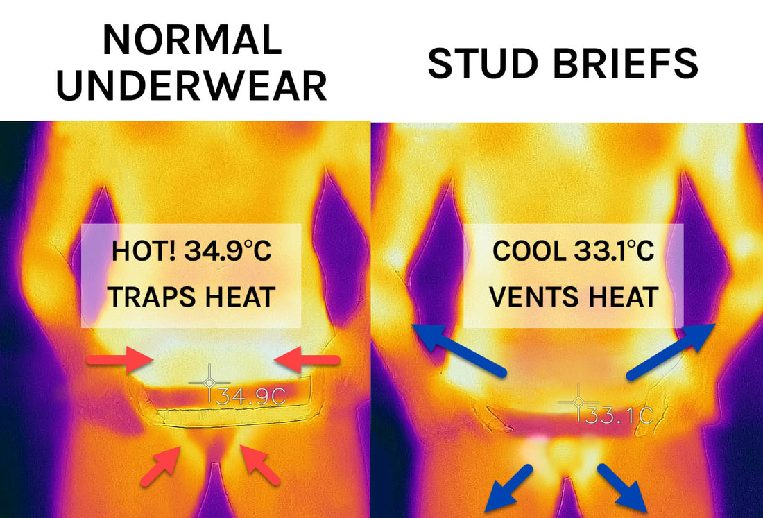 thermal map of cooling underwear vs normal underwear